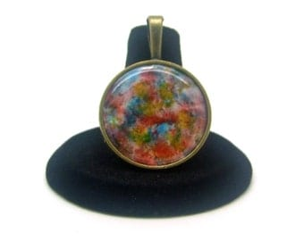 Abstract Necklace, Psychadelic Necklace, Hippie Necklace, Pendant Necklace, Multicolored Necklace, Alcohol Ink, Original Art Necklace