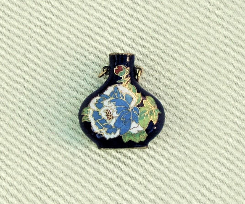 Miniature cloisonne vase vintage cloisonne pendant cobalt blue sold by mathildasattic reviewsmspy