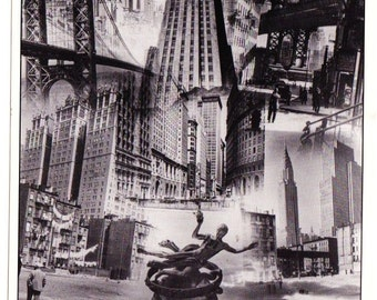 Vintage Postcard From Photo Chronicles LTD Depicting A Montage Of New York City Views Black And White Photographed By Gottscho-Schleisner