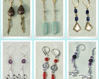Handmade Gemstone Earrings of the Month Club Membership -  6 Months