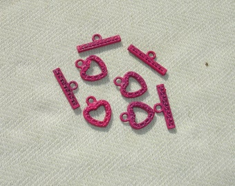 Decorative Pink Heart Toggle Clasp - 4 Sets