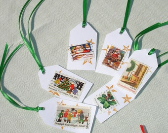 Vintage Stamp Tags - 6 pcs - Christmas in July Sale