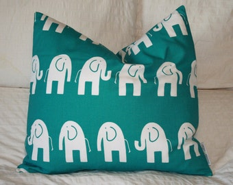 "20"" x 20"" Square Pillow Cover - Teal and White Elephants Ele, Cushion Cover, Throw Pillow, Premier Prints, Nursery, Home, Baby Pillow"
