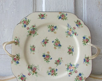 Vintage Shabby PLATE with ribbons Made in Japan petite fleur design