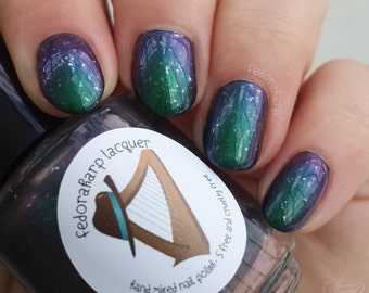 "Daisy ""Tremors"" Johnson (mini size & full size)- Green to purple multichrome with flakies indie polish by Fedoraharp Lacquer"