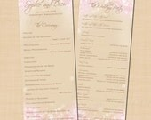 Pink and Gold Shimmer Text-Editable Double-Sided Long Wedding Programs: 4.25 x 11 - Instant Download