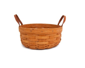 Vintage Longaberger Basket Leather Handles Round Darning Basket Handwoven Country Kitchen Farmhouse Decor