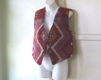 Folkloric Claret Red Vest~Women's Medium-Lg/Men's XXS Handmade Festive/Wedding/Event Vest Kilim-Woven; Turkey
