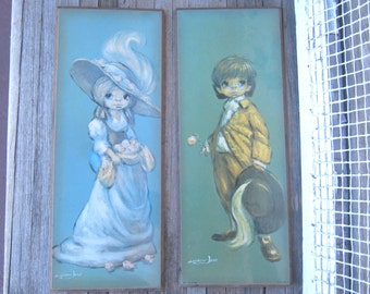 Pair of Vintage Big Eye Kid Pictures by Leighton-Jones - Mounted Cavalier & Flower Girl Leighton-Jones Prints - Big Eyed Children Wall Art