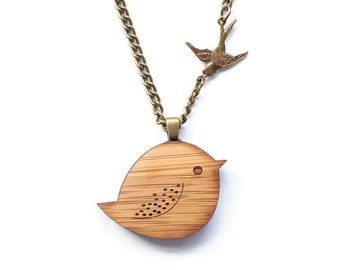 Bird necklace - wooden necklace - lasercut wooden jewelry - animal necklace - bird jewelry - chubby bird