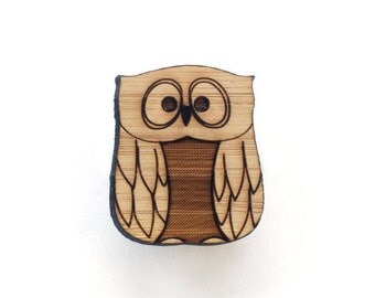 Owl brooch - bird brooch made with eco friendly wood - owl jewelry - owl pin
