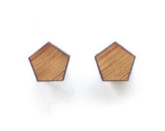 Geo earrings - Laser cut wooden post earrings - wooden geo studs - simple studs - pentagon studs