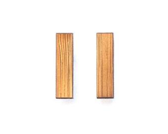 Short minimal bar earrings - Laser cut wooden post earrings - simple