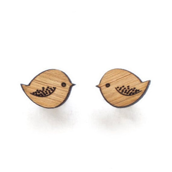 Bird earrings - wooden eco friendly wood bird studs. Unique laser cut wooden jewelry.