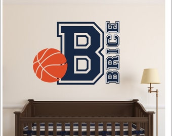 Basketball Wall Decal Personalized Basketball Decal Vinyl Wall Decal Boys Girls Bedroom Decal Nursery Decal Wall Monogram Sports Athletic