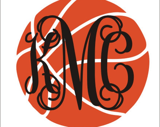 Basketball Monogram Decal Car Decal Vinyl Decal Car Window Basketball Team Decal Monogram Decal Vine Monogram Sports Basketball Mom Sister