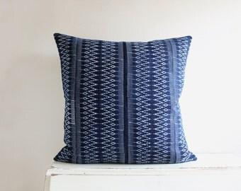 """Hmong indigo batik pillow cushion cover 22"""" x 22"""""""
