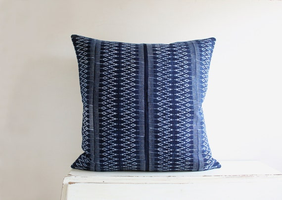 "Hmong indigo batik pillow cushion cover 22"" x 22"""