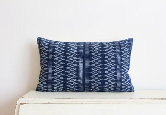 """Indigo batik Hmong pillow cushion cover 12"""" x 20"""""""