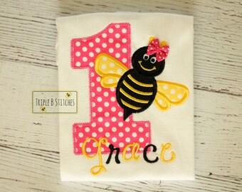 Pink bumble bee birthday shirt onesie-Bee birthday shirt-Bumble bee Birthday-first birthday bumble bee-bumble bee birthday shirt