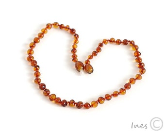Baltic Amber Baby Teething Cognac Color Necklace, Rounded Amber Beads