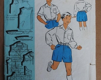 Vintage French Original Sewing Pattern 1950's Patron Modèle Boys Shirt and Shorts Age 8 - 10 No 100570