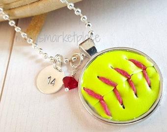 Softball Skin Pendant Necklace Set, Softball, Vintage, Birthday, Graduation, Team, Sports, Ball, Yellow