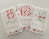 vine monogram girly burp cloths/ new baby gift/ baby shower gift/ floral monogram burp cloths/ pink, peach, champagne, mint, gold burp cloth