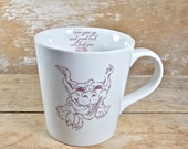 Mug with Luck Dragon, Neverending Story, Never Give Up Luck Will Find You Tea Cup Teacup Mug, Cute 17 oz Porcelain Coffee Cup, Ready to Ship