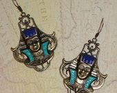 Antiqued Brass Large Egyptian Pharaoh Head Blue Turquoise Statement Dangle Drop Pierced Earrings