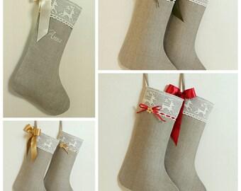 2017 years Christmas stocking Scandinavian Christmas stocking Linen burlap stocking Lace Christmas stocking