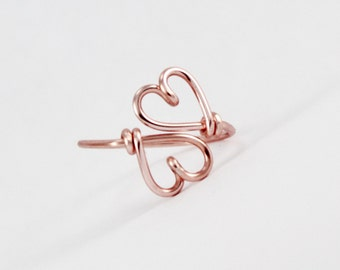 Double Hearts Ring, Rose Gold Heart Ring, SweetHeart Ring, Dainty Adjustable Ring, Girlfriend Best Friends Gift, Valentine's Day Gift