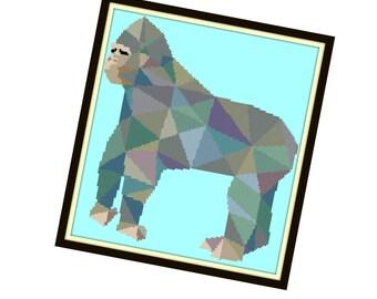 Abstract Gorilla Cross Stitch Pattern - Modern Cross Stitch Pattern - Origami Animal Cross Stitch Pattern - Geometri