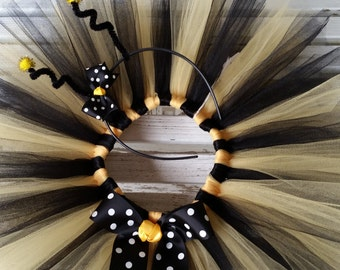 Bumble Bee Costume  - Baby Girls Halloween Tutu and Headband - Girls Bee Party Tutu - Black and Yellow Tutu - Girls Bee Costume