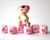 Fondant Baby Cake Topper - Baby Fondant Toppers - Baby Shower Fondant - First BIrthday Cake Topper - Christening Cake Topper