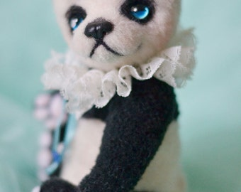OOAK Artist bear panda white black by Lollipopbears