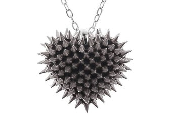 Mini Spiked Heart Necklace in Silver