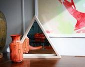 Triangle Wall Mirror- Modern Home Decor- Triangular Shelf- Troika Mirror- Contemporary Housewarming Gift- Wood Framed Mirror- FREE SHIPPING