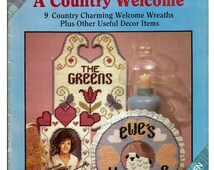 A Country Welcome Plastic Canvas Pattern Book Plaid # 8333