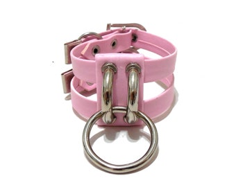 Geminus Cuff. Pink Vegan Leather Ring Bracelet.