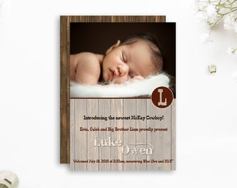 Rustic birth announcement, Boy Birth Announcement, wood birth announcement, Cowboy birth announcement, farm ranch wooden woodgrain brown