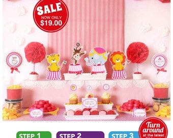 Vintage Pink Carnival Circus Birthday Party Package Personalized FULL Collection Set  - PRINTABLE DIY - PS801CA2x