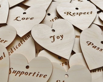 25 Personalized Hearts, Engraved Hearts, Personalized Wood Hearts, Wedding Favors, Engraved Wood Heart Favors, heart favors, engraved hearts