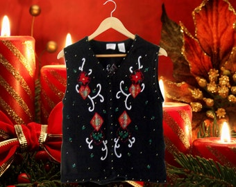 Christmas Vest Ugly Christmas Sweater Party Tacky Christmas Sweater Holiday Sweater Black Sweater Vest Hipster Sweater Hipster Clothes Women