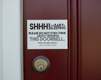 Do Not Ring Doorbell 4x5.5 Inch Magnet // Don't Right Doorbell Sign // Do Not Knock Sign // Baby Sleeping Sign