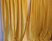 Vintage Yellow Curtains, Vintage Yellow Drapes, Lined Yellow Drapes, Rubber Lining Curtains, Textured Vintage Curtains