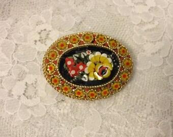 Vintage Glass Mosaic Brooch