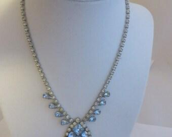 Vintage White and Powder Blue Rhinestone Glam Necklace