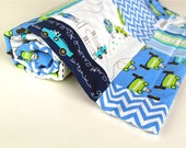 Baby Blanket, Les Monsieurs Patchwork Blanket with Turquoise Minky