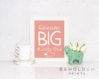 Dream Big Print, Nursery Print, Nursery Wall Art, Baby Girl Print, Inspirational Print, little girl Print
